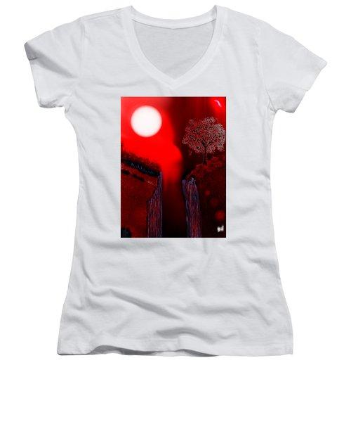 Perigee Moon 2 Women's V-Neck T-Shirt (Junior Cut) by Yul Olaivar