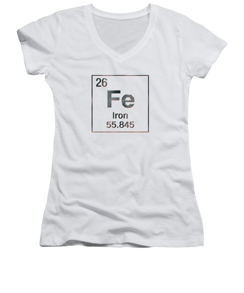 Periodic Table Of Elements - Iron Fe Women's V-Neck