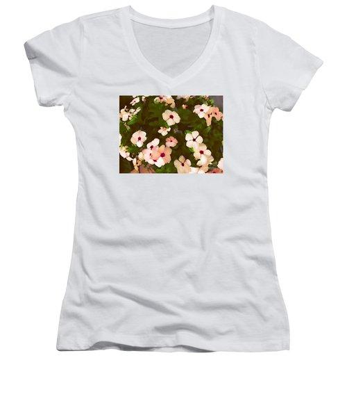 Periwinkle Women's V-Neck T-Shirt (Junior Cut) by David Blank