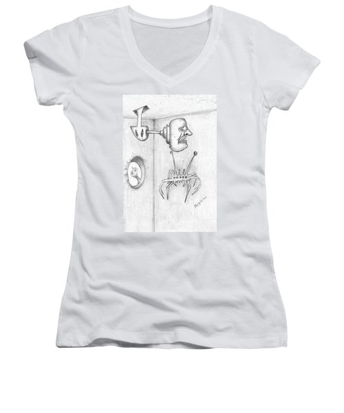 Permanent Fixture Women's V-Neck T-Shirt (Junior Cut) by Dan Twyman