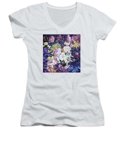 Women's V-Neck T-Shirt (Junior Cut) featuring the painting Petals by Joanne Smoley