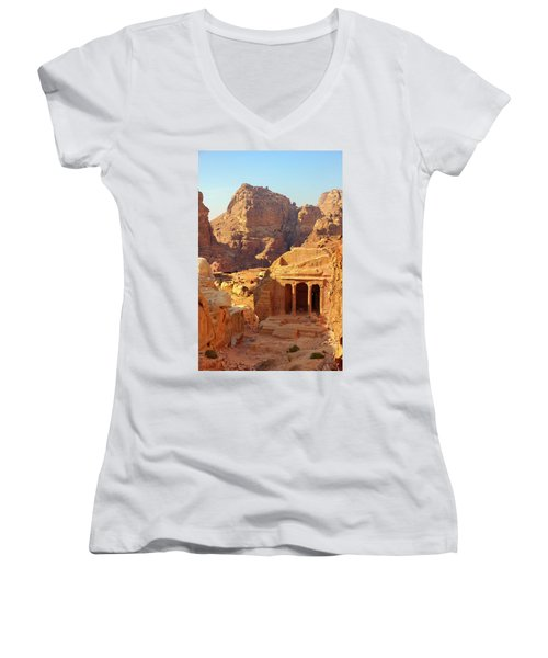Women's V-Neck T-Shirt (Junior Cut) featuring the photograph Petra Buildings, Pond And Gardens Complex by Nicola Nobile