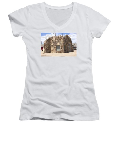 Petrified Wood Building Women's V-Neck (Athletic Fit)
