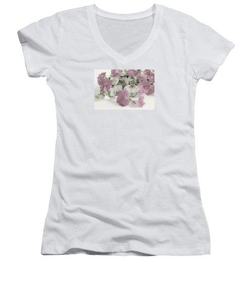 Petunias And Perfume - Soft Women's V-Neck T-Shirt (Junior Cut) by Sandra Foster