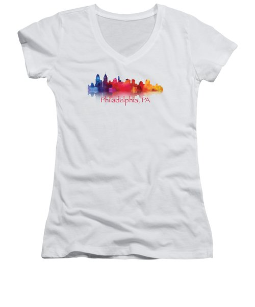 philadelphia PA Skyline TShirts and Apparal Women's V-Neck (Athletic Fit)