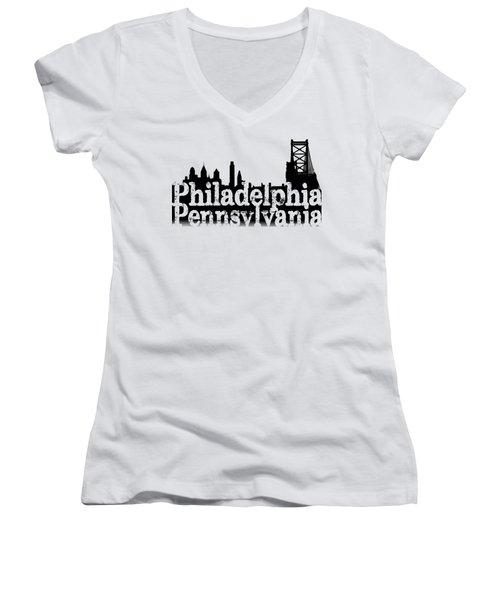 Philadelphia Pennsylvania Women's V-Neck T-Shirt (Junior Cut) by Christopher Woods