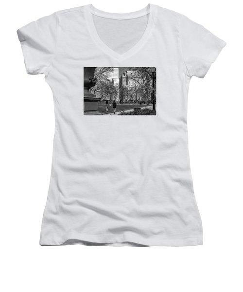 Women's V-Neck T-Shirt (Junior Cut) featuring the photograph Philadelphia Street Photography - 0902 by David Sutton