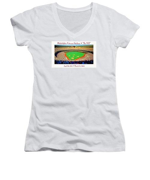 Philadelphia Veterans Stadium The Vet Women's V-Neck (Athletic Fit)