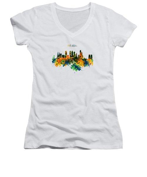 Philadelphia Watercolor Skyline Women's V-Neck (Athletic Fit)