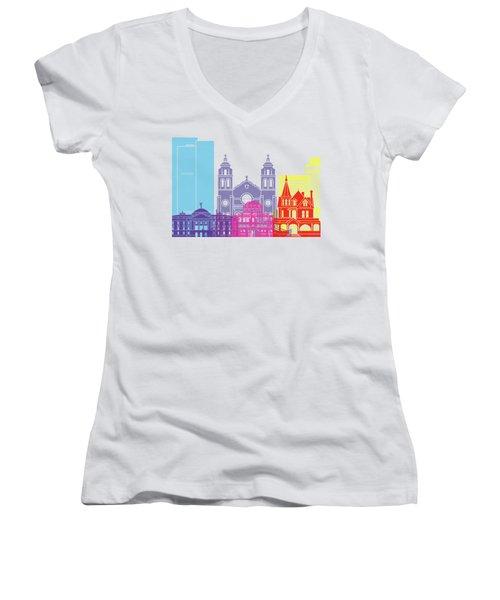 Phoenix Skyline Pop Women's V-Neck T-Shirt (Junior Cut) by Pablo Romero