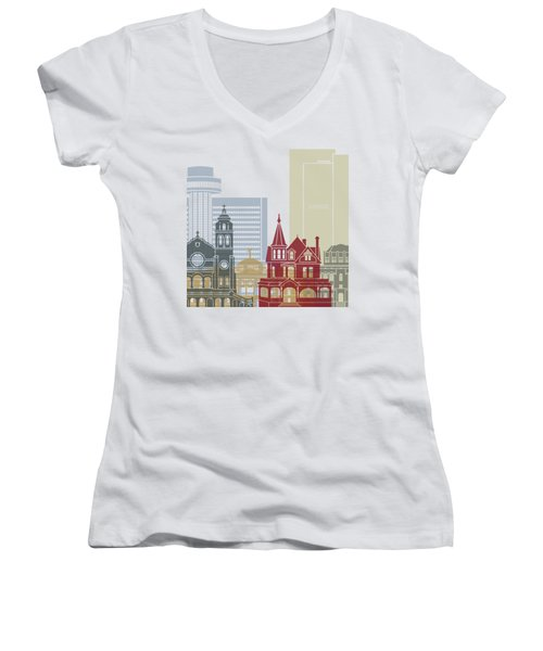 Phoenix Skyline Poster Women's V-Neck T-Shirt (Junior Cut) by Pablo Romero