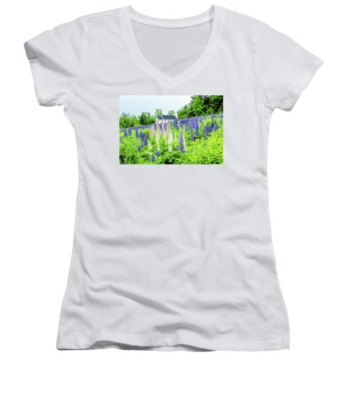 Women's V-Neck T-Shirt (Junior Cut) featuring the photograph Photographers Dream Or Allergy Nightmare by Greg Fortier