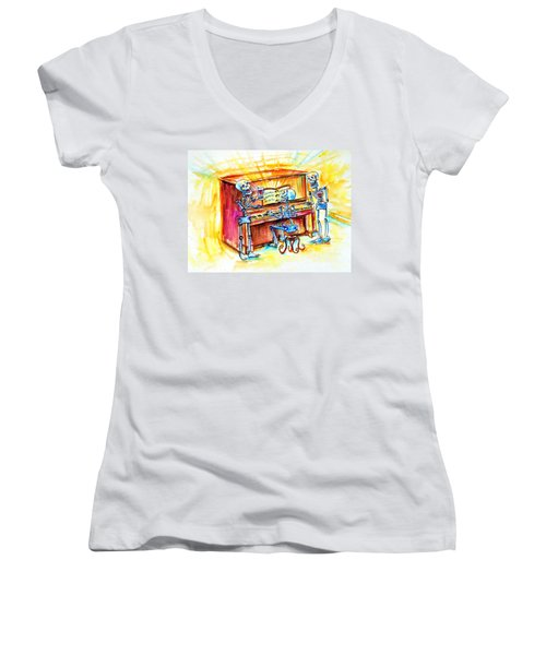 Women's V-Neck T-Shirt (Junior Cut) featuring the painting Piano Man by Heather Calderon