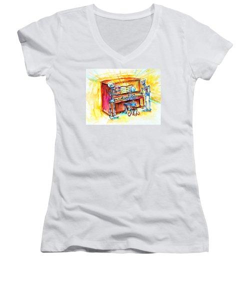 Piano Man Women's V-Neck T-Shirt (Junior Cut) by Heather Calderon