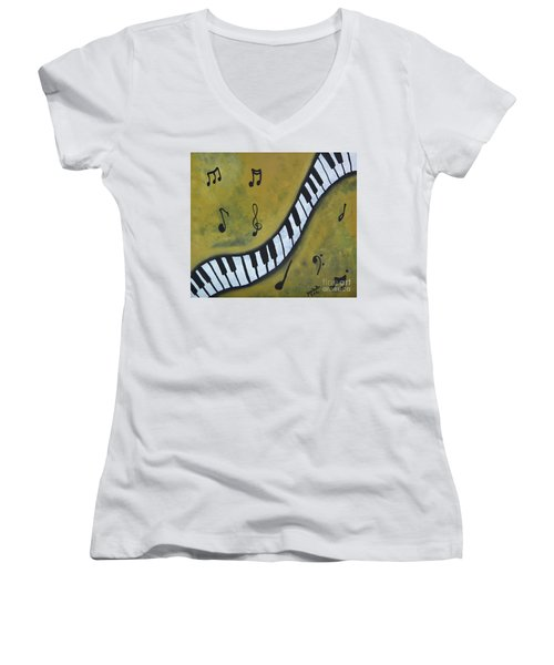 Piano Music Abstract Art By Saribelle Women's V-Neck T-Shirt (Junior Cut) by Saribelle Rodriguez