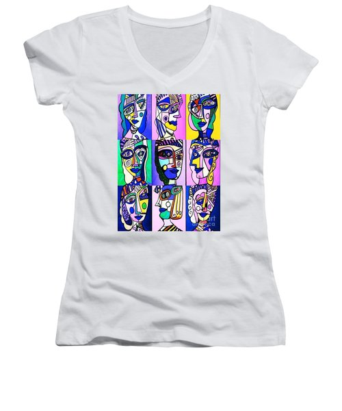 Picasso Blue Women Women's V-Neck T-Shirt