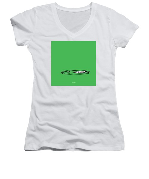 Women's V-Neck T-Shirt (Junior Cut) featuring the digital art Piccolo In Green by Jazz DaBri