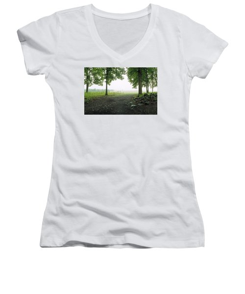 Pickett's Charge Women's V-Neck T-Shirt (Junior Cut) by Jan W Faul