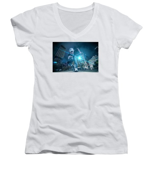 Women's V-Neck T-Shirt (Junior Cut) featuring the photograph Pics By Nick by Nicholas Grunas