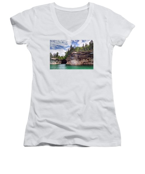 Pictured Rocks Women's V-Neck T-Shirt (Junior Cut) by Alan Casadei