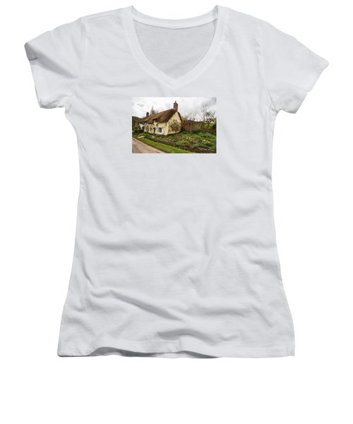 Picturesque Dunster Cottage Women's V-Neck T-Shirt (Junior Cut) by Shirley Mitchell