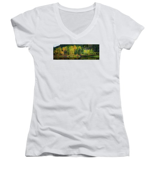 Women's V-Neck T-Shirt (Junior Cut) featuring the photograph Picturesque Tumwater Canyon by Dan Mihai
