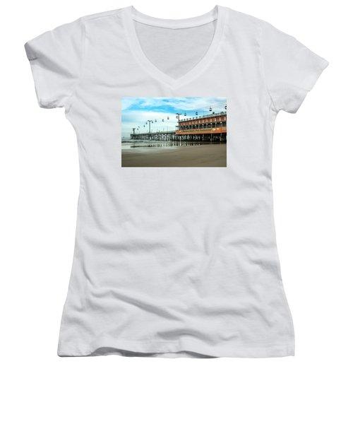 Pier Daytona Beach Women's V-Neck T-Shirt (Junior Cut) by Carolyn Marshall