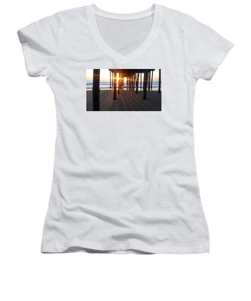 Pier Shadows Women's V-Neck T-Shirt (Junior Cut) by Robert Banach