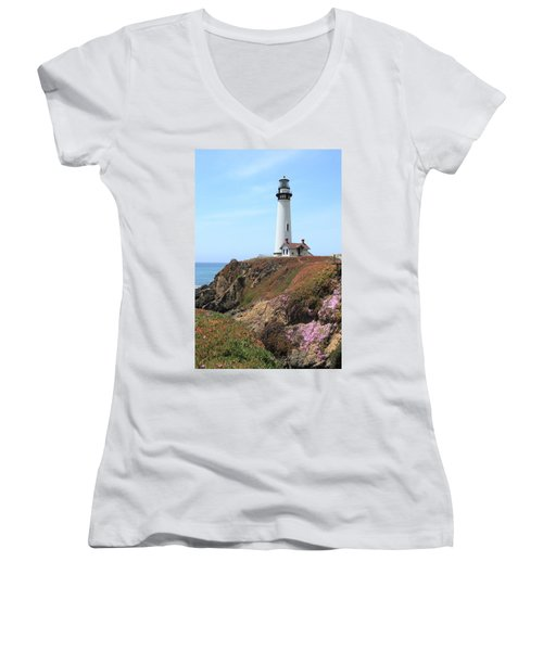 Pigeon Point Lighthouse 2 Women's V-Neck T-Shirt