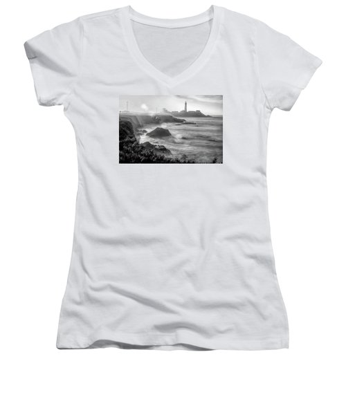 Pigeon Point Rocky Shore Women's V-Neck (Athletic Fit)