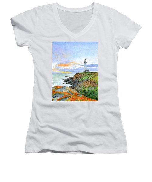 Pigeon Point Sunset Women's V-Neck T-Shirt (Junior Cut) by Mike Robles