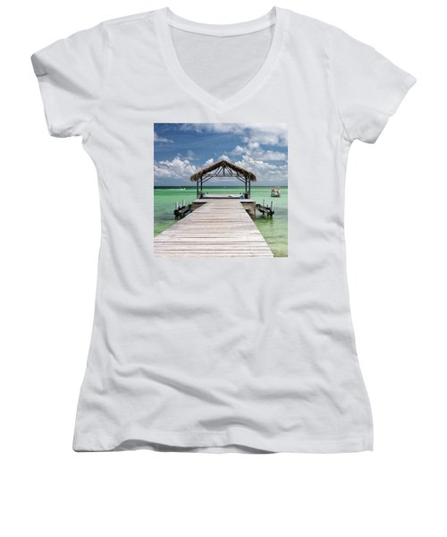 Pigeon Point, Tobago#pigeonpoint Women's V-Neck T-Shirt (Junior Cut) by John Edwards