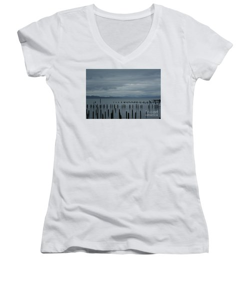 Pilings On Columbia River Women's V-Neck