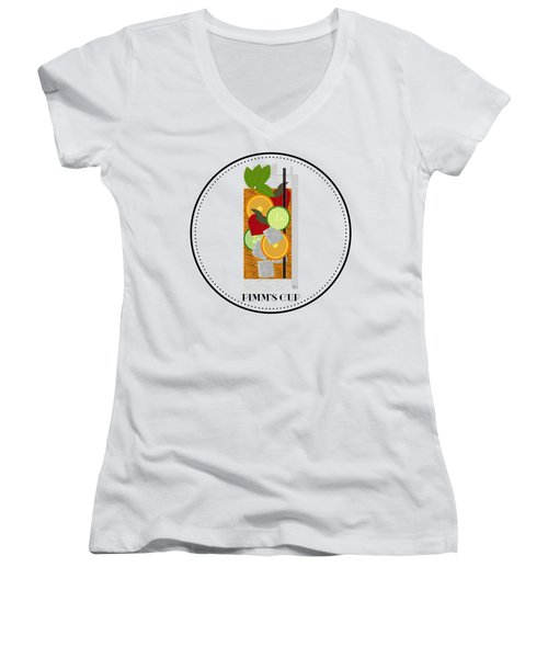 Pimm's Cup Cocktail In Art Deco  Women's V-Neck (Athletic Fit)