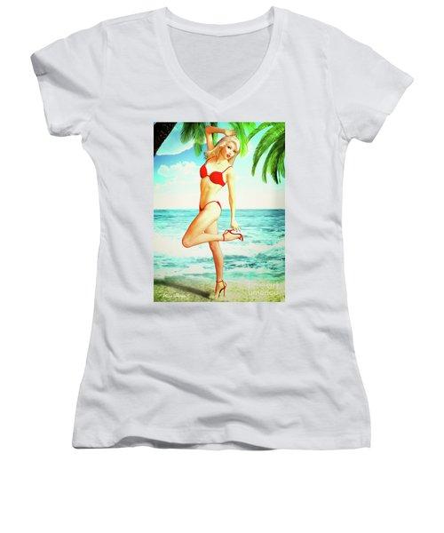 Pin-up Beach Blonde In Red Bikini Women's V-Neck