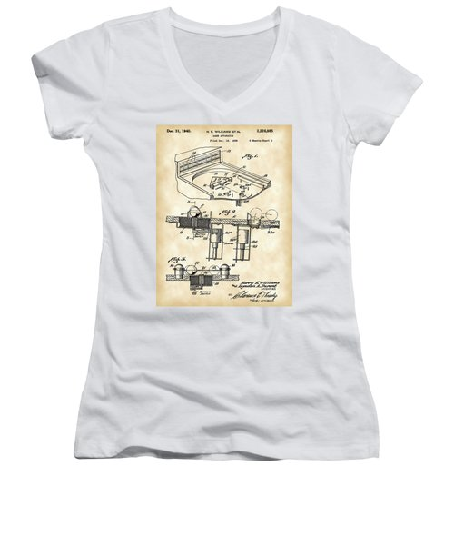 Pinball Machine Patent 1939 - Vintage Women's V-Neck T-Shirt (Junior Cut) by Stephen Younts