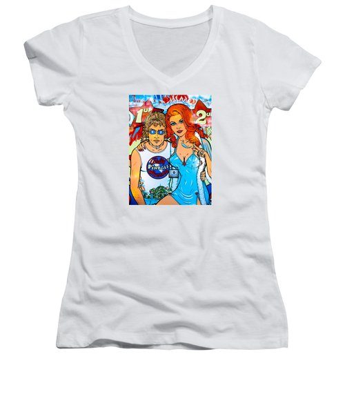 Pinball Wizard Women's V-Neck T-Shirt (Junior Cut) by Colleen Kammerer