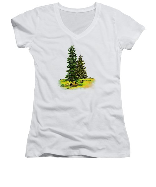 Pine Tree Nature Watercolor Ink Image 2b        Women's V-Neck (Athletic Fit)