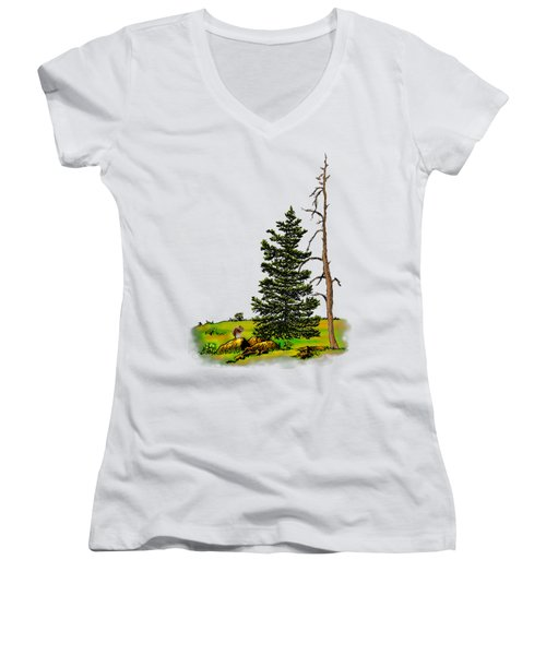 Pine Tree Nature Watercolor Ink Image 3         Women's V-Neck (Athletic Fit)