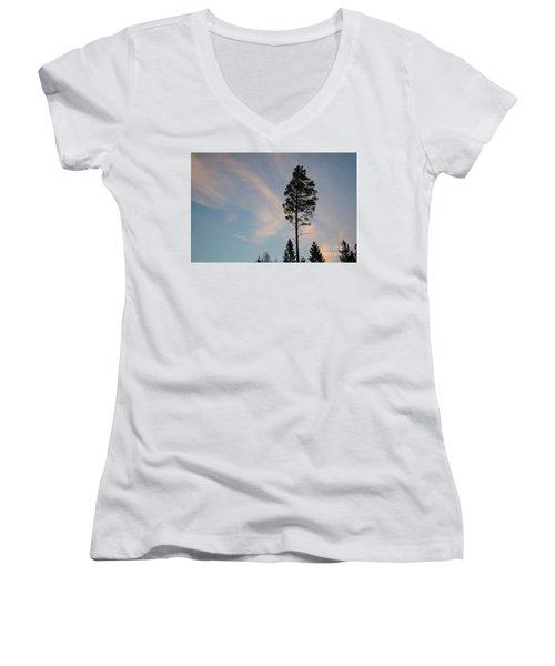 Pine Tree Silhouette Women's V-Neck T-Shirt (Junior Cut) by Kennerth and Birgitta Kullman