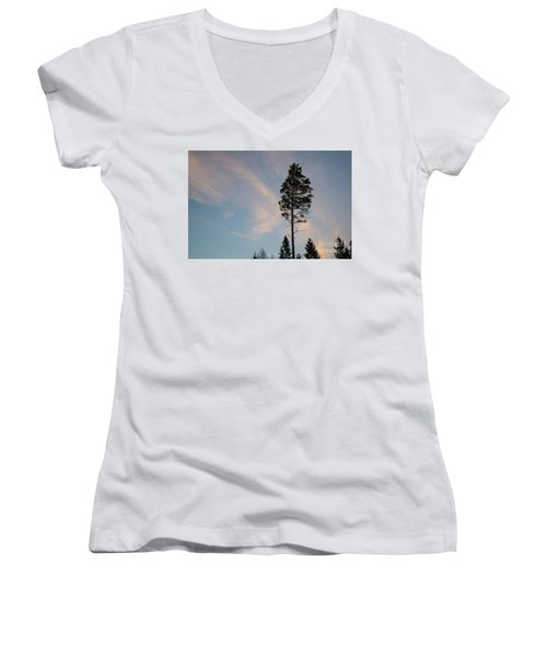 Pine Tree Silhouette Women's V-Neck (Athletic Fit)
