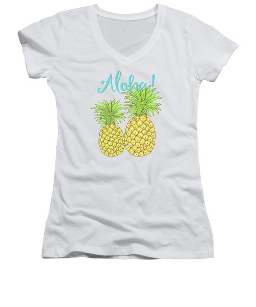 Pineapple Aloha Tropical Fruit Of Welcome Hawaii Women's V-Neck T-Shirt (Junior Cut) by Tina Lavoie