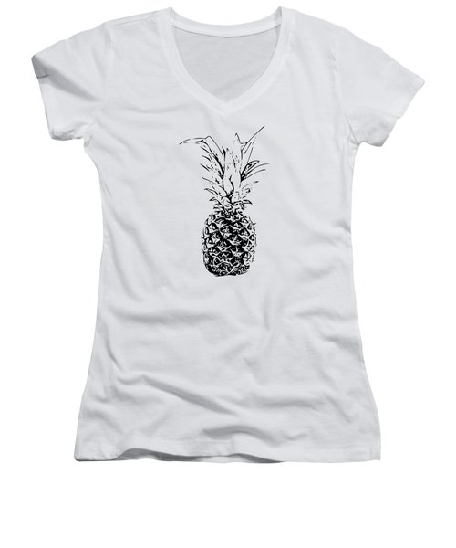 Pineapple Women's V-Neck T-Shirt (Junior Cut) by Daniel Precht