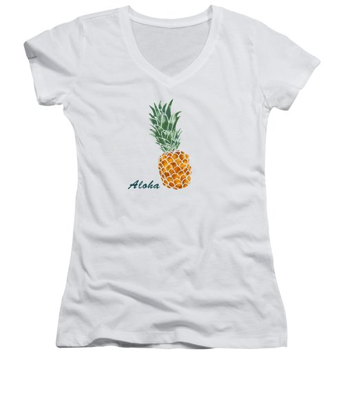 Pineapple Women's V-Neck T-Shirt (Junior Cut) by Jirka Svetlik