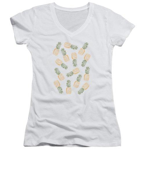 Pineapples Women's V-Neck T-Shirt