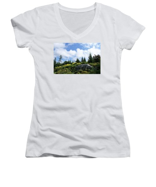 Women's V-Neck T-Shirt (Junior Cut) featuring the photograph Pines At The Top by Lois Lepisto