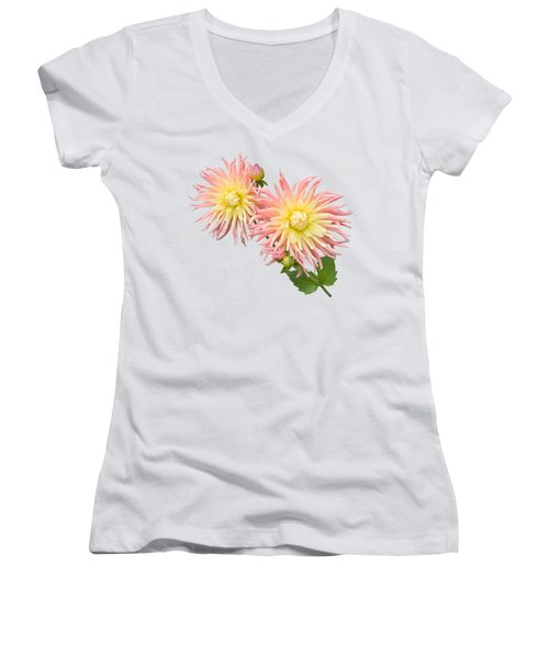 Pink And Cream Cactus Dahlia Women's V-Neck T-Shirt (Junior Cut) by Jane McIlroy