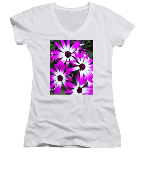 Pink And White Flowers Women's V-Neck T-Shirt (Junior Cut) by Vizual Studio