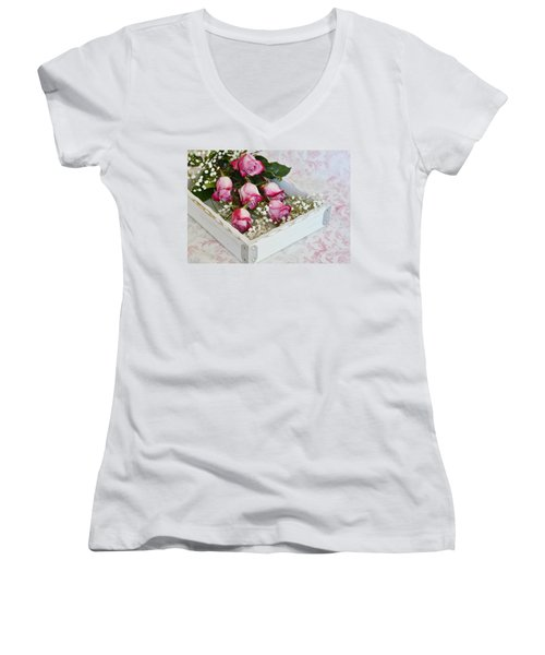 Pink And White Roses In White Box Women's V-Neck T-Shirt (Junior Cut) by Diane Alexander