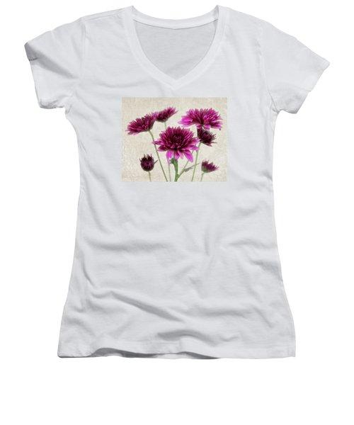 Pink Bouquet Women's V-Neck T-Shirt (Junior Cut) by Judy Vincent